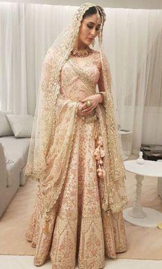Kareena Kapoor in stunning blush pink Vikram Phadnis bridal lehenga Pakistani Wedding Outfits, Pakistani Bridal Dresses, Pakistani Wedding Dresses, Bridal Outfits, Indian Dresses, Indian Outfits, Walima Dress, Pakistani Couture, Indian Fashion Trends