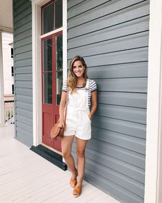 Outfit Details: Madewell overalls (on sale!), Madewell Tee (on sale), Kaanas Sandals, Chloe Bag