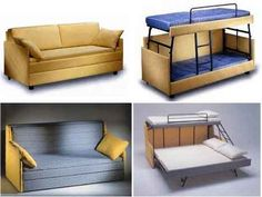 Brilliant sofa to bunk beds or full size bed. http://freshome.com/2007/04/22/transformer-furniture-two-or-three-beds/