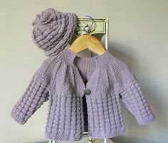 Textured round yoke baby sweater and matching hat  by OgeDesigns, $5.00
