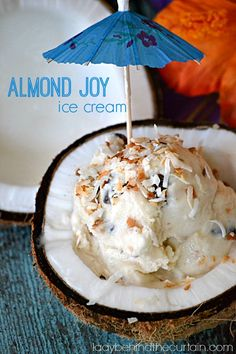 Treat yourself to a coconut delight with this Almond Joy Ice Cream by Lady Behind The Curtain