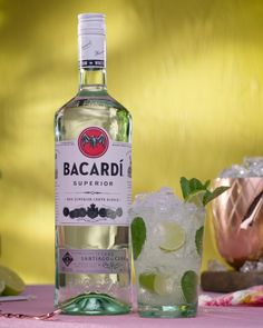 The taste of Summer in a glass All you need is… 4 Lime Wedges 2 Tsp of Sugar 12 Fresh Mint Leaves Crushed ice 2 Parts BACARDÍ Superior Rum Soda Water Sprig of fresh mint to garnish. Bacardi Cocktails, Drinks With Bacardi Rum, Bacardi Mojito, Cocktail Night, Cocktail Drinks, Fun Drinks, Alcoholic Drinks, Yummy Drinks, Diy Home