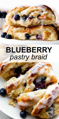 Blueberry Cream Cheese Pastry Braid | Sally's Baking Addiction Breakfast Pastries, Breakfast Dishes, Breakfast Recipes, Dessert Recipes, Blueberry Desserts, Just Desserts, Delicious Desserts, Yummy Food, Pastry Recipes