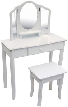 Vanity Set Table Mirror Bedroom Stool Chair For Girls White #GC