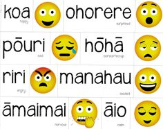 Common emotions are written in Te Reo and come in a handy magnetic form for easy classroom use. The English equivalent is shown underneath and emoji faces are included as an extra way to enforce each emotion. Childhood Education, Kids Education, Teaching Tools, Teaching Resources, Maori Songs, Family Tree Worksheet, Maori Designs, Classroom Themes, Feelings