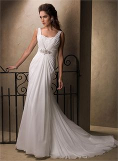 Off-the-shoulder Scoop Neckline Beaded Cathedral Train Chiffon Wedding Dress WD1918 www.tidedresses.co.uk $288.0000