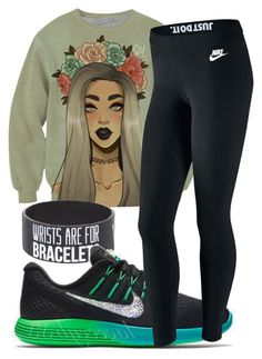"""""""Green"""" by carenza-spence on Polyvore featuring NIKE"""
