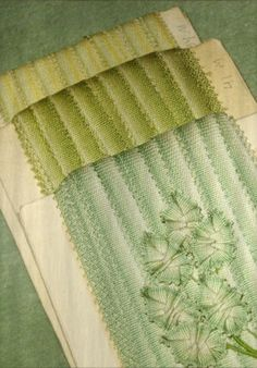 1920 French Picot Green Ombre Ribbon