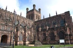 Chester Cathedral - built on Anglo Saxon foundations dating back to 907 - rebuilt three times - we see the most lasting design from 1250 - for first 530 years, it was named St Werburgh's Abbey as the patron saint of Chester, is buried here Chester Cathedral, Cathedral Church, The Places Youll Go, Places To Visit, Chester City, In Ancient Times, Gothic Architecture, Historical Sites, Great Britain