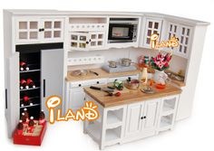 Modern Oak Cabinet Set 6 pc Miniature Dollhouse Kitchen