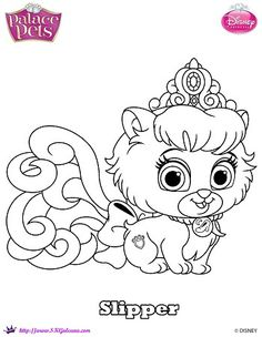 Disney Princess Palace Pets Cinderella Kitten Slipper Coloring Page