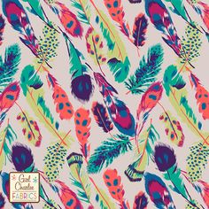 PRESALE Feathers on Silver Peony Cotton Jersey Blend Knit Fabric :: $6.50