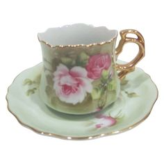 Lefton China Cup and Saucer with Roses
