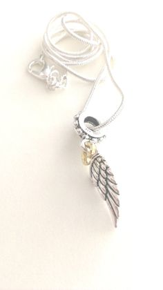 Sterling Silver Angelic Wing with Gold Heart by MysticMoonShadow