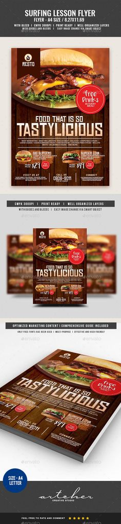 #Restaurant Burger House #Flyer - Restaurant Flyers Download here:  https://graphicriver.net/item/restaurant-burger-house-flyer/20006929?ref=alena994
