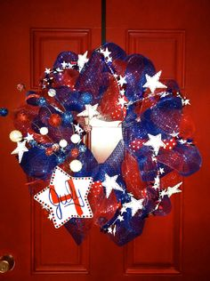 My first Etsy Listing!!!  Fourth of July Front Door Wreath With Deco Mesh Ribbon