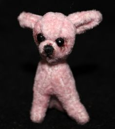 OOAK miniature Pink Plush Chihuahua Dog by Artist Natalya PhD Collectables