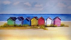 Southwold Beach Huts- watercolor but a good likeness to the real ones Watercolor Landscape, Abstract Landscape, Watercolor Paintings, Watercolour, Beach Paintings, Gouache Painting, Beach Huts Art, Seaside Art, Sea Art
