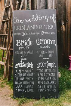 Awesome Wedding Ideas: bridal party sign, photo by Michelle Gardella http. Wedding 2017, Fall Wedding, Wedding Ceremony, Rustic Wedding, Our Wedding, Dream Wedding, Wedding Sparklers, Wedding Venues, Trendy Wedding