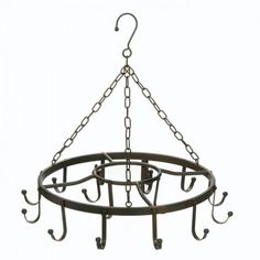 - Saving cabinet space and keeping your pots and pans within easy reach is exactly what this iron pot hanger does. - Hang it securely from your ceiling and then arrange your cookware to hang above you