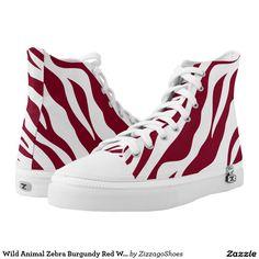 Wild Animal Zebra Burgundy Red White Stripe Printed Shoes