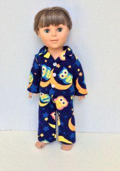 Boy Doll Pajamas Owl Pyjamas Blue Flannel Doll by DonnaDesigned