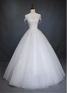 Gorgeous Tulle Off-the-Shoulder Neckline Ball Gown Wedding Dress With Lace Appliques & Beadings - Adasbridal.com