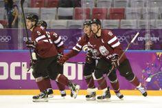 DAY 13:  Team Latvia during the Ice Hockey Men's Quarterfinals - Canada vs. Latvia http://sports.yahoo.com/olympics