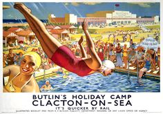 Butlin's, Clacton-on-Sea, Essex. LNER Vintage Travel poster by Joseph Greenup. Posters Uk, Railway Posters, Art Deco Posters, Cool Posters, Poster Prints, Art Print, Train Posters, Giclee Print, Retro Poster