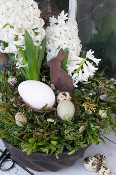 eggs, hyacinths & a tin rabbit nestled in a bed of boxwood & cedar
