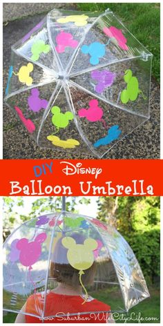 Disney Balloon Umbrella - Suburban Wife, City Life Make rainy days a little brighter with this tutorial for how to make a Disney Balloon Umbrella using a Cricut. Disney Diy Crafts, Disney Home Decor, Diy Crafts For Kids, Fun Crafts, Diy Disney Gifts, Wood Crafts, Mickey Mouse, Diys, Packaging