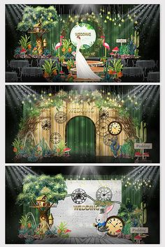 Fresh and natural forest fairy tale theme wedding effect map Wedding Stage Design, Wedding Set Up, Fairy Tale Theme, Fairy Tales, Wedding Photo Walls, Champagne Wedding Colors, Green Wedding Decorations, Emerald Green Weddings, Fairy Birthday Party