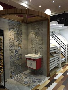 Here you have the rest of the photos our customer Taif Al Raki For Ceramic sent us after designing his new showroom with our collections! click the link now for more info. Showroom Interior Design, Tile Showroom, Buy Tile, Floor Patterns, Tiles, House Design, Photos, Home Decor, Ceramic Flooring