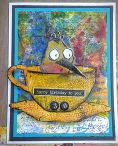 Tim Holtz Tea Time cup and crazy bird, crackled paint with mixed media background card.