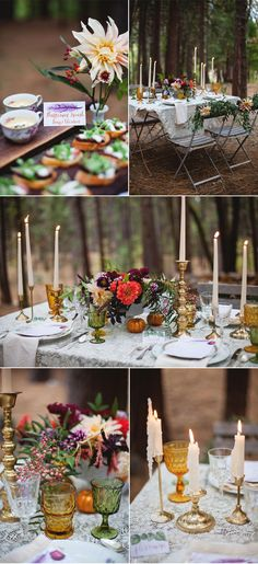Art by: Pigment & Parchment | Food Sign & Place Card Watercolor & Calligraphy | Boho Feathers Twigs Pomegranate Acorns Redwoods Trees Nature Pinecones Hippie Natural Fall Katie White Photography Inntown Campground Woods Northern California Sierras Wedding Earthy Bohemian Styled Shoot