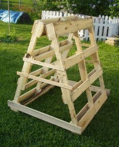 Garden trellises made from pallets. The first one (pictured) was made from pallets that matched lengthwise. We intend this one for squash as it had wider gaps between slats for the fruit to grow. More pallets in the garden and pallets in the home at http://pinterest.com/wineinajug/passion-for-pallets/
