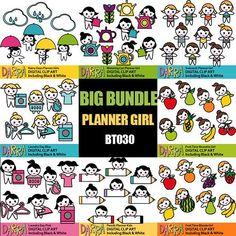 Printable planner stickers clipart sale bundle, clip art digital download commercial use, kawaii cute planner girls activities