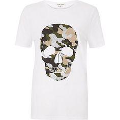 Wit T-shirt met doodshoofd in camouflagelook - T-shirts met print / hemdjes - t-shirts/hemdjes - dames