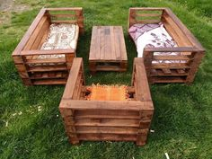 diy pallet garden seating set