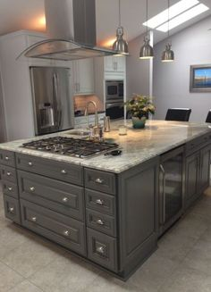 36 trendy kitchen island ideas with trendy kitchen island ideas with reachFarmhouse Kitchen Island Tin 53 Trendy Ideas kitchen farmhouse Farmhouse Ide . Kitchen Island With Cooktop, Island Cooktop, Kitchen Island Storage, Farmhouse Kitchen Island, Modern Kitchen Island, Kitchen Island Decor, Kitchen Layout, Home Decor Kitchen, Rustic Kitchen