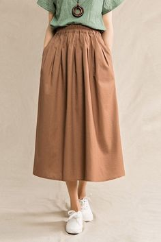 Plus Size Vintage Cotton Linen Skirts Women Clothes – Kleidung Linen Skirt, Linen Dresses, Women's Dresses, Casual Dresses, Casual Outfits, Dresses With Sleeves, Hippie Dresses, Summer Outfits, Plus Size Vintage