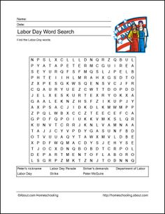 It's just a photo of Slobbery Labor Day Word Search Printable