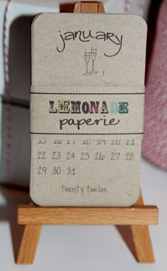 Calendar 2012 Recycled Paper Mini Doodle Desk Calendar With Wooden Easel $10.00