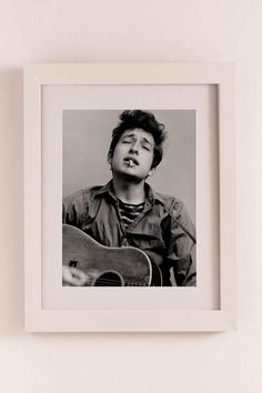 Bob Dylan Portrait With Acoustic Guitar & Cigarette By Michael Ochs/Getty…