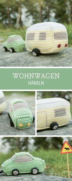 Auto mit Wohnwagen häkeln, Amigurumi Idee / diy crocheting pattern for a camper via DaWanda.com