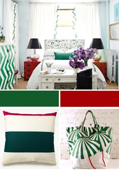 Desk at the foot of the bed, nightstands in a pop of color, black lampshades and chevron dresser
