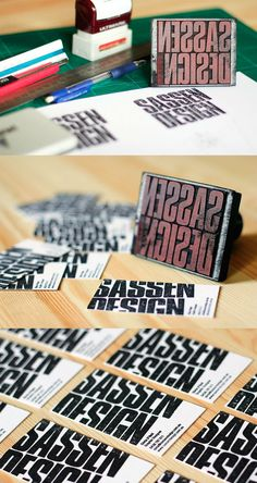 Sassen Designs Rubber Stamp Business Card_This black rubber stamp business card by the Sassen Design company, is just one of their many specialized creations. No two are exactly alike. Very creative!
