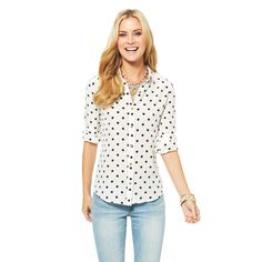 Silk Blouses - Signature Silk Dots Shirt | C. Wonder