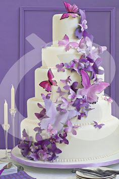 Wedding cake with purple butterflies