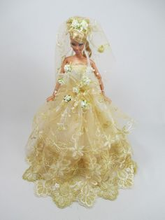 Barbie Doll Wedding Gown Dress with veil Royalty by NinaBella9, $10.00